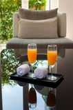 Cold orange juice serve as a welcome drink Royalty Free Stock Photos