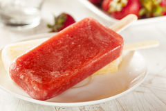 Cold Organic Frozen Strawberry Fruit Popsicle Stock Images