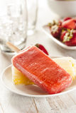 Cold Organic Frozen Strawberry Fruit Popsicle Royalty Free Stock Photography
