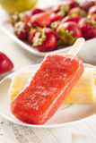 Cold Organic Frozen Strawberry Fruit Popsicle Stock Photo