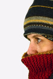 Cold outside. Woman with scarf and hat in winter royalty free stock images
