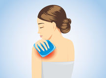Cold pack on swelling shoulder of woman for pain relief. Cold pack on swelling shoulder of woman for relief of pain. Illustration about first aid equipment Royalty Free Stock Photo