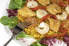 Cold paella with salad. Traditional Spanish meal. Royalty Free Stock Image