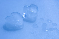 Cold passion - ice hearts Royalty Free Stock Image