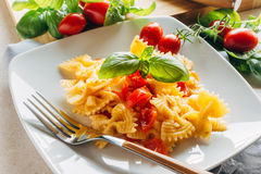 Cold Pasta. Dish of cold pasta with cherry tomatoes, cheese, oil and basil Royalty Free Stock Images