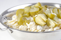Cold pasta salad with mayonnaise. And pickles Royalty Free Stock Image