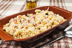Cold pasta salad. On the table Royalty Free Stock Photo