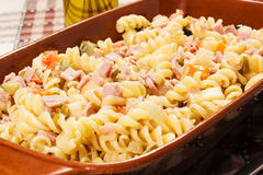 Cold pasta salad. On the table Royalty Free Stock Image