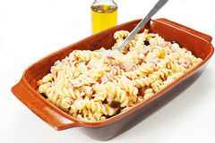 Cold pasta salad. On the white background Royalty Free Stock Photos