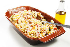 Cold pasta salad. On the white background Stock Images