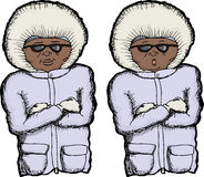 Cold Person. Cartoon of person with coat and folded arms Stock Image