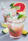 Cold pink cocktail with fresh grapefruit, lime and ice, vertical Royalty Free Stock Photos