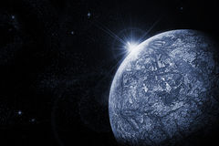 Cold planet. Art illustration of dead planet and  raising star Stock Images