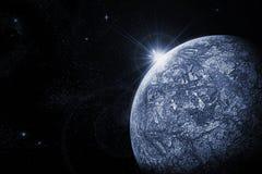 Cold planet. Art illustration of dead planet and raising star Vector Illustration