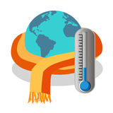 Cold planet with thermometer Royalty Free Stock Images