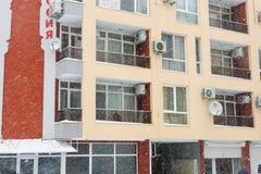 Cold in Pomorie, Bulgaria in January stock image