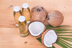 Cold pressed extra virgin coconut oil in bottles with coconuts Stock Image
