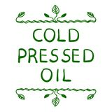 `Cold pressed oil`. Hand drawn typographical element. Hand written VECTOR letters. Vignette on white Royalty Free Stock Photo