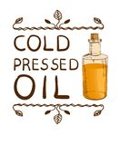 `Cold pressed oil` and handdrawn bottle with oil. Hand drawn typographical element. Hand written VECTOR letters. Vignette on white Royalty Free Stock Photos
