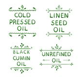 `Cold pressed oil` linen seed oil` `black cumin oil` `unrefined oil`. Hand drawn typographical elements. Hand written. VECTOR letters. Black lines, vignettes Stock Photography