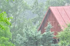 Cold rainy weather in summer windy forecast. Cold rainy weather in summer during holiday in cottage raindrop storm forecast stock photo