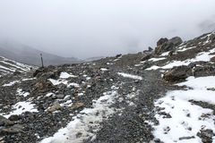 Cold rainy weather in Thorong La Pass, Nepal Royalty Free Stock Photo