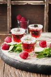 Cold Raspberry cocktail with mint Stock Image