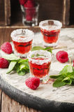 Cold Raspberry drink with mint Royalty Free Stock Photo