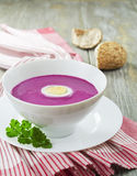 Cold  red beet soup Royalty Free Stock Images