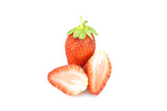 Cold red strawberry. And chip strawberry isolated with white background Stock Image
