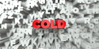 COLD -  Red text on typography background - 3D rendered royalty free stock image. This image can be used for an online website banner ad or a print postcard Stock Photography