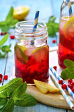Cold redcurrant tea with lemon and mint. Stock Photos