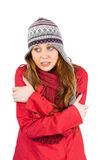 Cold redhead wearing coat and hat Stock Image