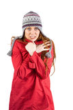 Cold redhead wearing coat and hat Stock Images
