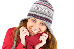 Cold redhead wearing coat and hat Royalty Free Stock Image