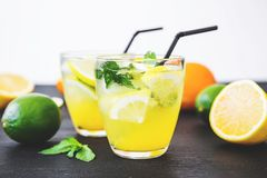 Cold refreshing citrus drinks with lemon and limes. Tropical concept. Royalty Free Stock Image