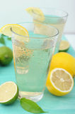 Cold refreshing drink from tasty fresh lemon Stock Photos