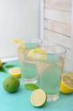 Cold refreshing drink from tasty fresh lemon slice Royalty Free Stock Images