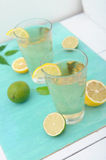 Cold refreshing drink from tasty lemons Stock Images