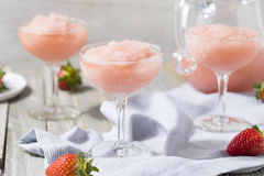 Cold Refreshing Frozen Rosé Wine Cocktail. Cold Refreshing Frozen Frosé Rosé Wine Cocktail in the Summer Stock Photos