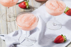 Cold Refreshing Frozen Rosé Wine Cocktail. Cold Refreshing Frozen Frosé Rosé Wine Cocktail in the Summer royalty free stock photography