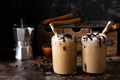Iced coffee in mason jars royalty free stock images