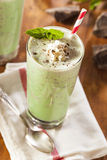 Cold Refreshing Mint Chocolate Chip MilkShake Royalty Free Stock Photos