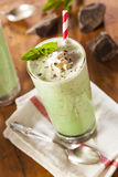 Cold Refreshing Mint Chocolate Chip MilkShake Stock Photo