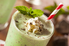 Cold Refreshing Mint Chocolate Chip MilkShake Stock Images