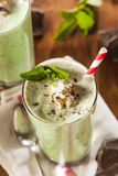 Cold Refreshing Mint Chocolate Chip MilkShake. With a Straw Royalty Free Stock Images