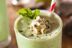 Cold Refreshing Mint Chocolate Chip MilkShake Royalty Free Stock Image