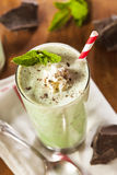 Cold Refreshing Mint Chocolate Chip MilkShake. With a Straw Stock Image