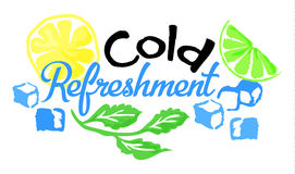 Cold Refreshment sticker in watercolor style. Cold Refreshment sticker. Vector illustration in watercolor style, for graphic and web design Royalty Free Stock Photo