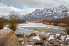 Cold river and mountain Royalty Free Stock Images